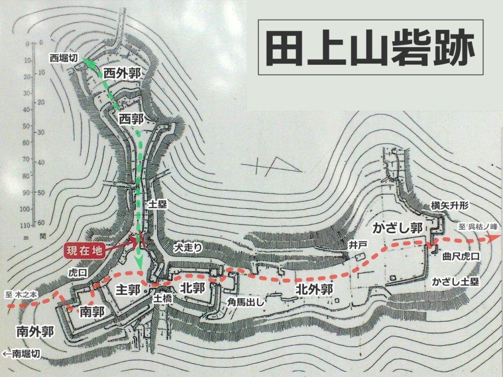 田上山砦跡案内図