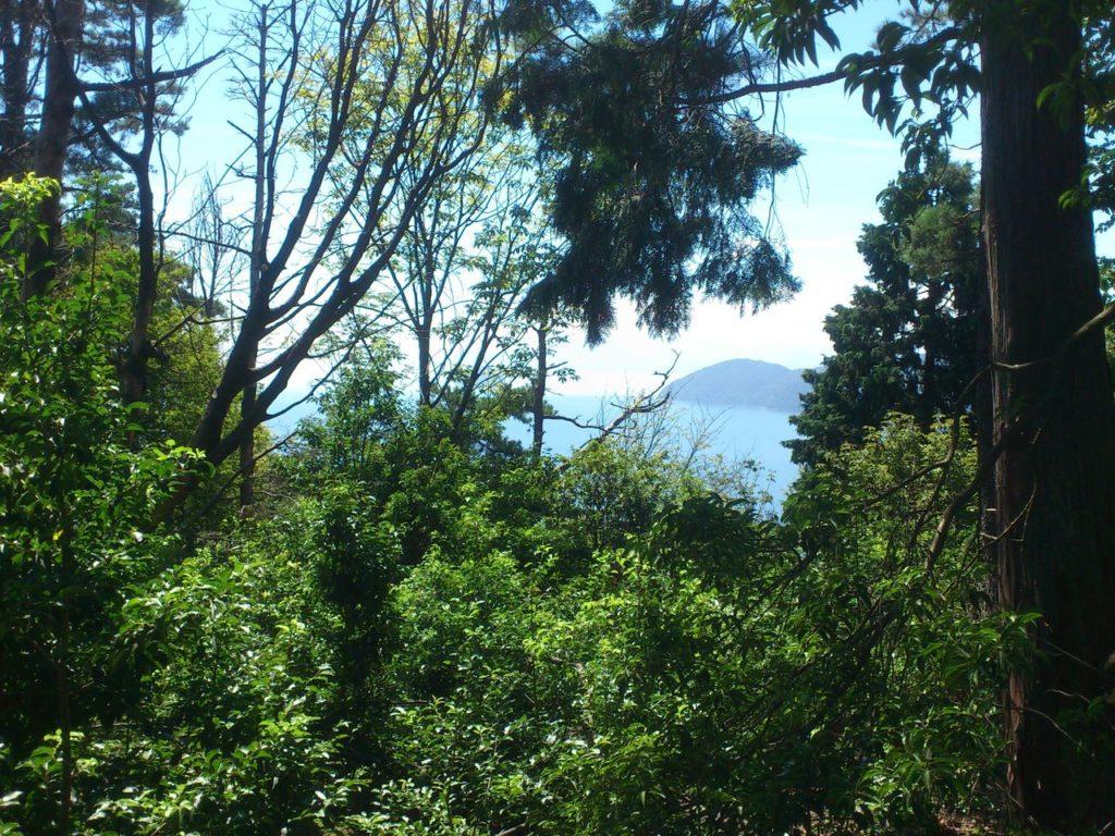 琵琶湖に浮かぶ竹生島と葛篭尾崎