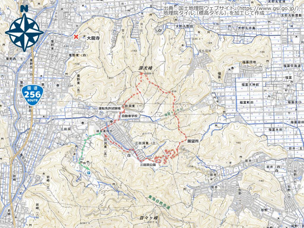 源太峰周辺地図