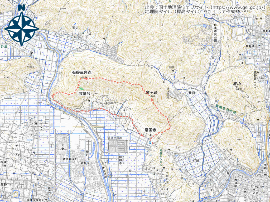城ヶ峰周辺地図