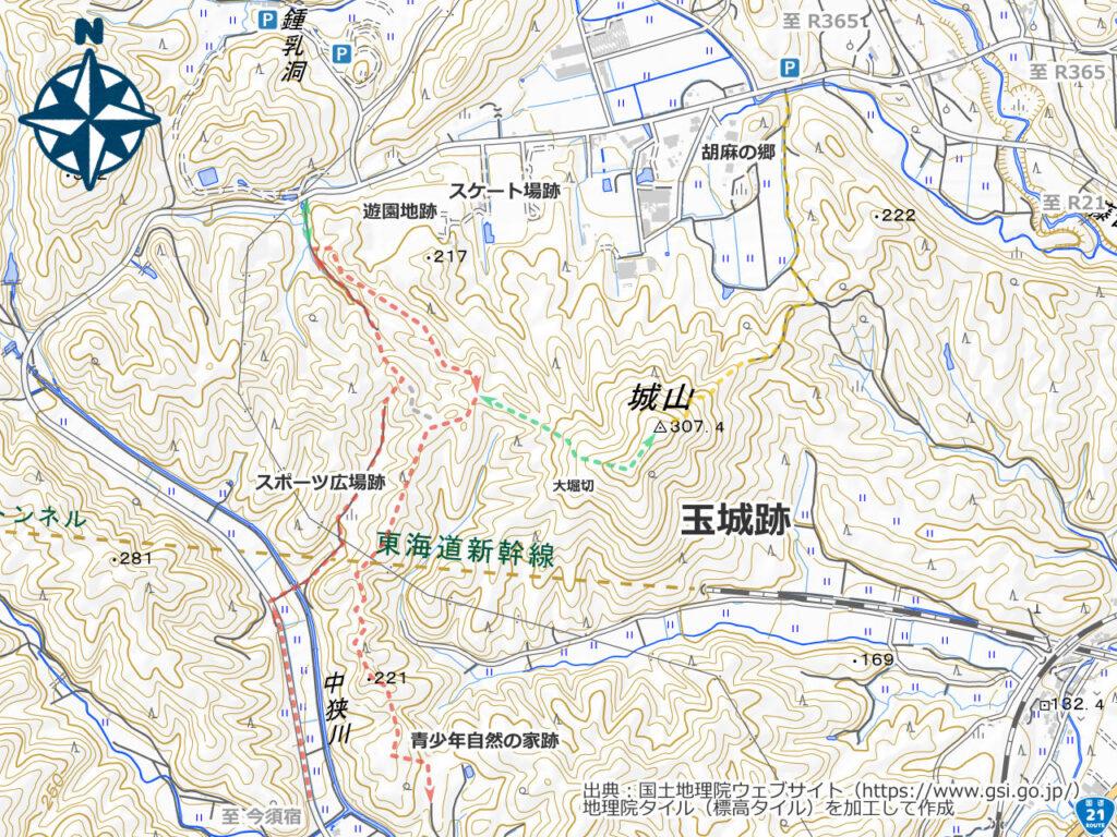 玉城跡周辺地図