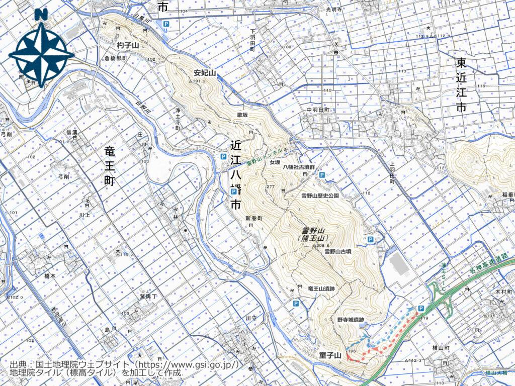 雪野山周辺地図(童子山)