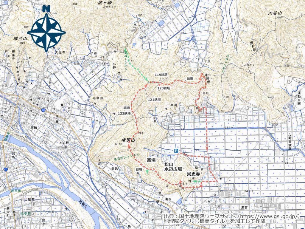 長良松山の権現山周辺地図
