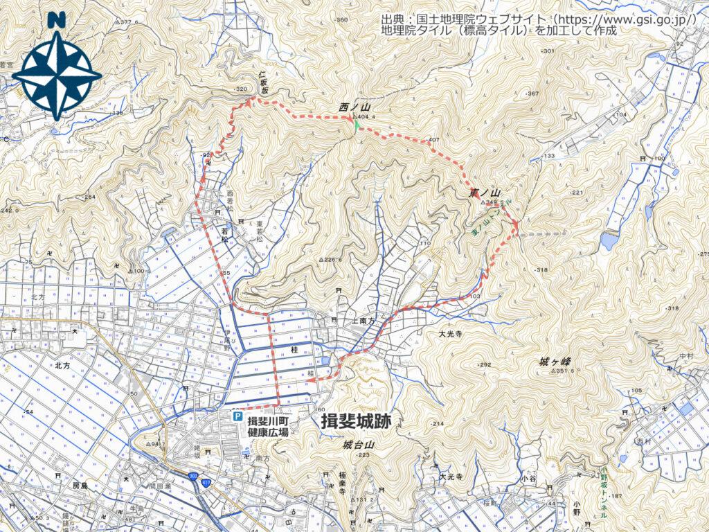 西ノ山・東ノ山周辺地図