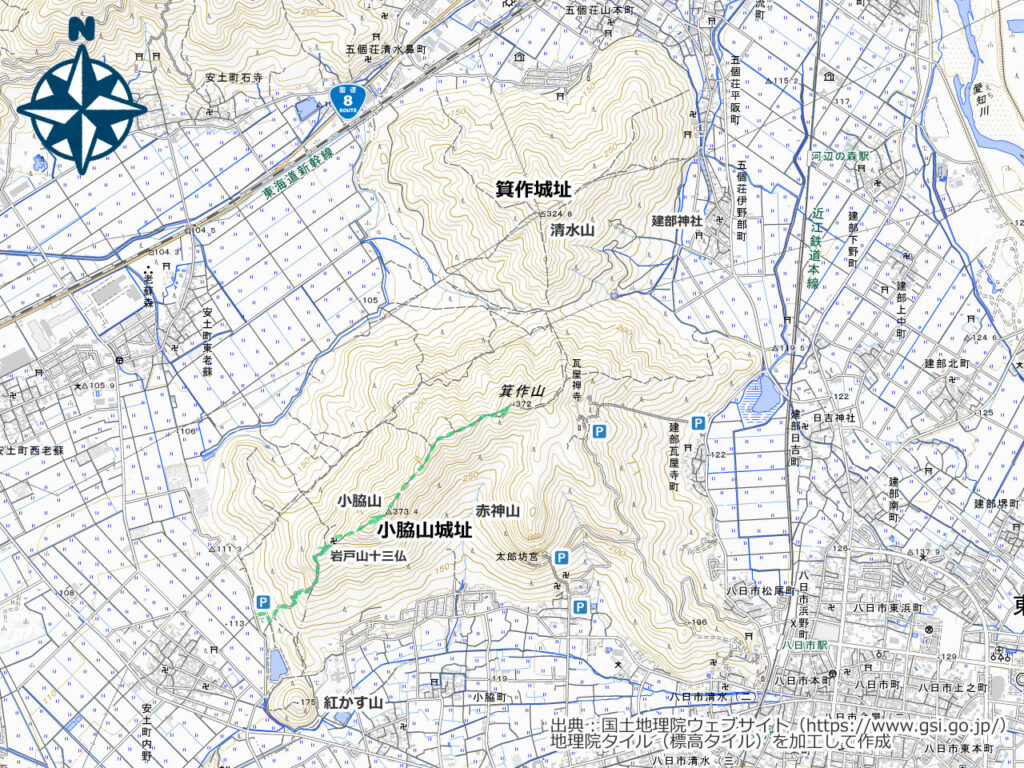 箕作山周辺地図