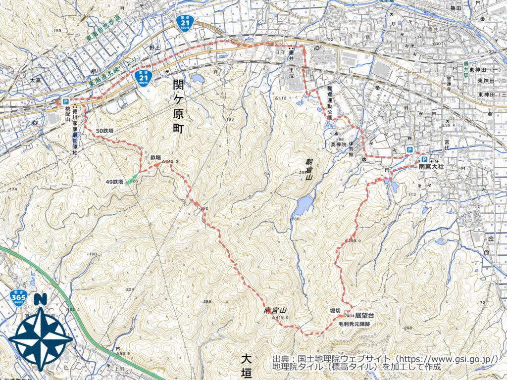 桃配山・南宮山周辺地図