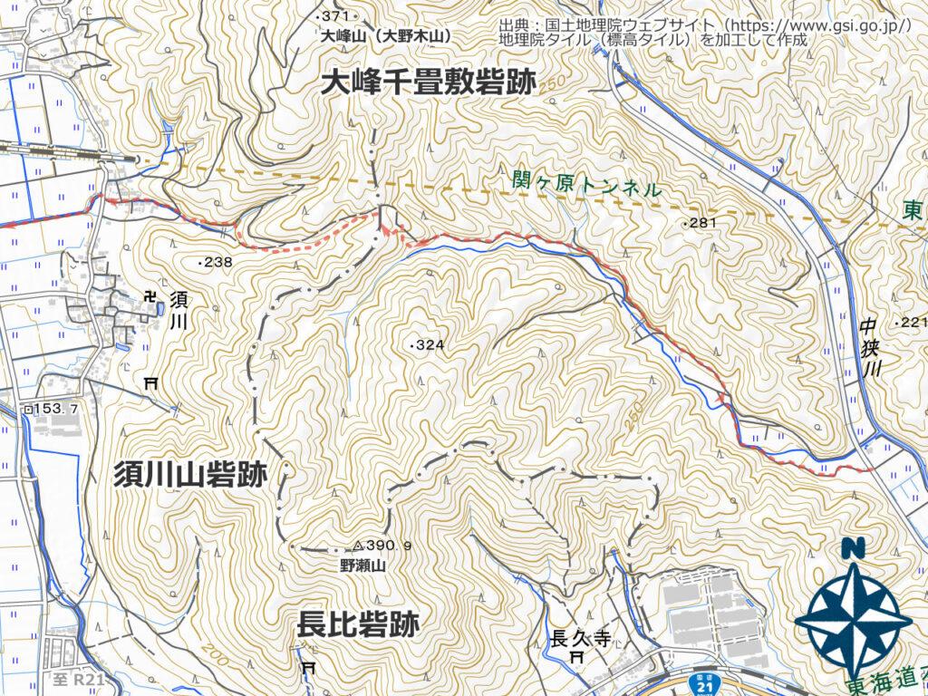 大峰山・野瀬山地図