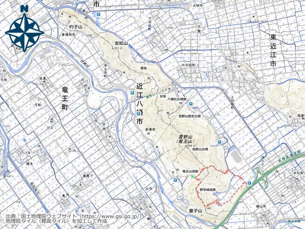雪野山周辺地図(野寺城跡)