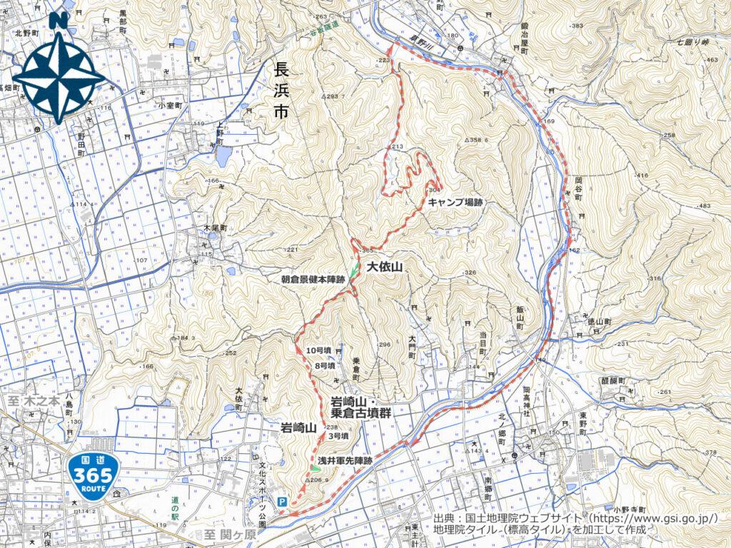 大依山・岩崎山周辺地図