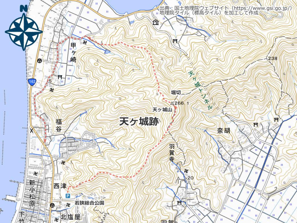 天ヶ城山周辺地図