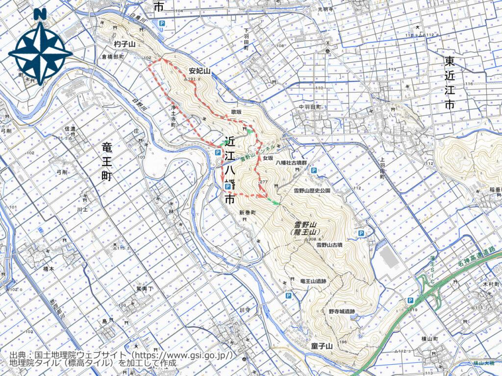 雪野山周辺地図(安妃山)