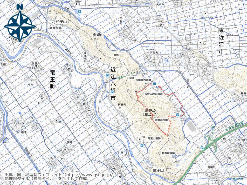 雪野山周辺地図(古墳)