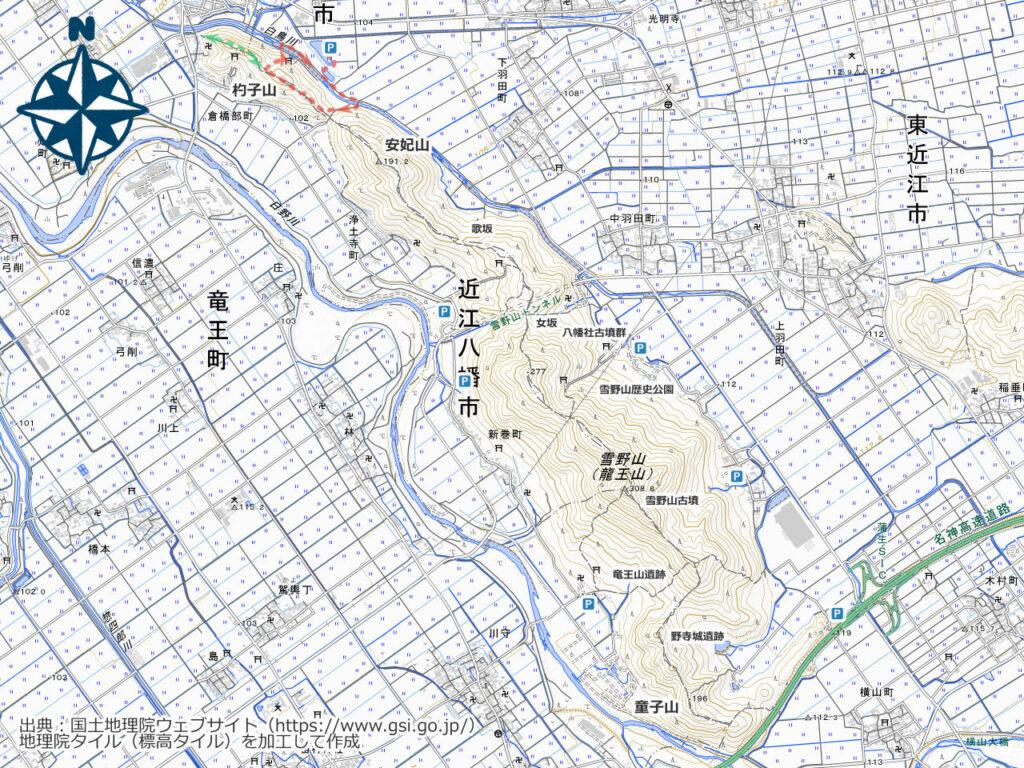 雪野山周辺地図(杓子山)