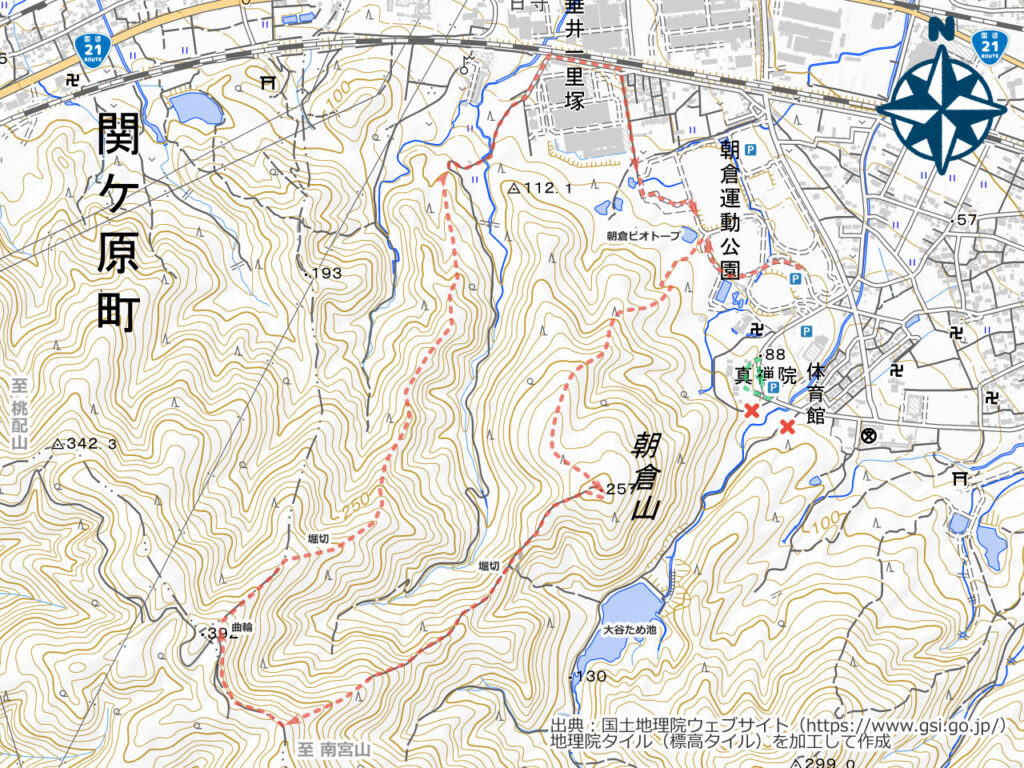 朝倉山周辺地図