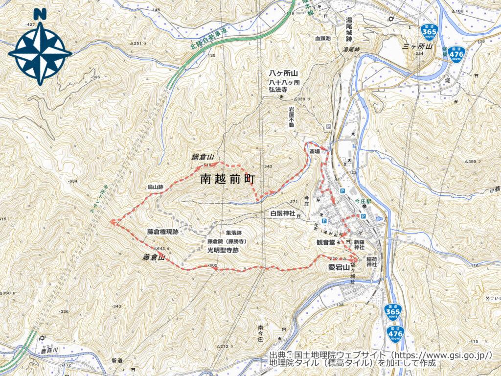 藤倉山・鍋倉山周辺地図
