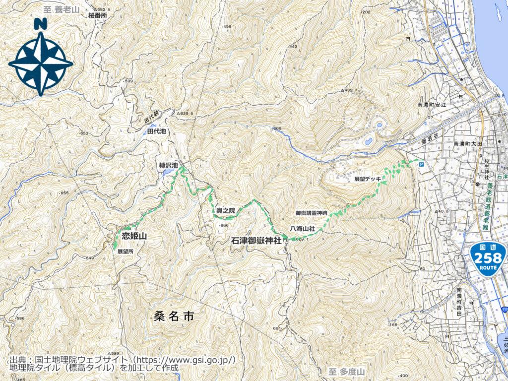 石津御嶽周辺地図
