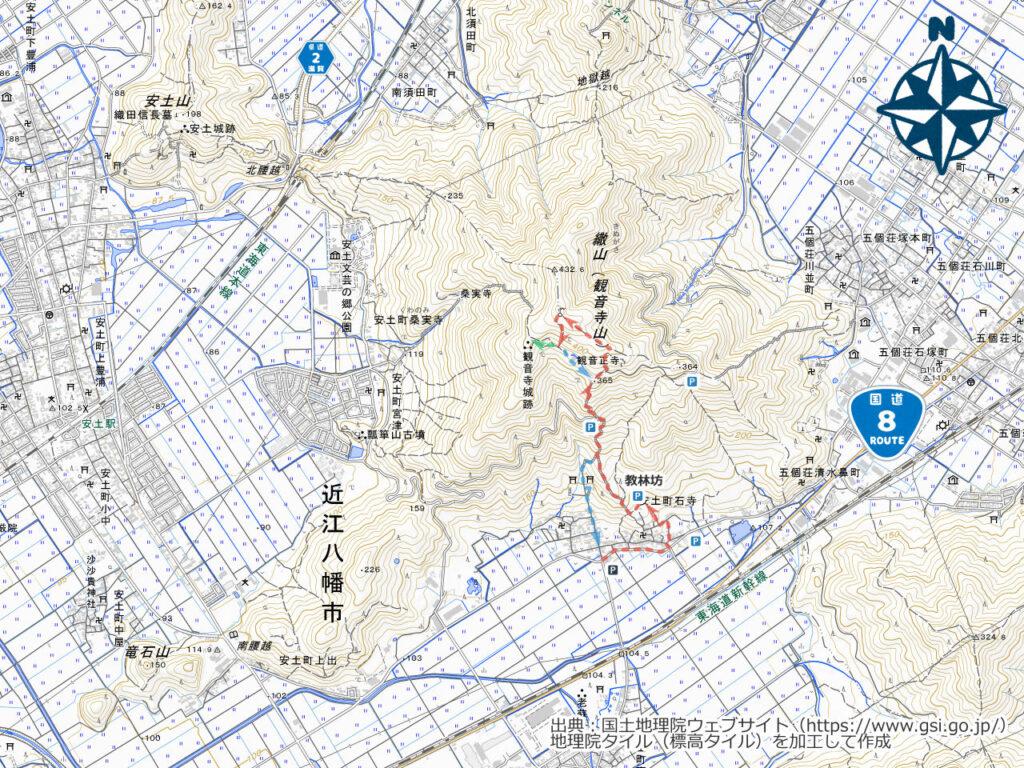 繖山周辺地図