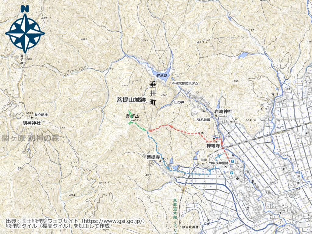 菩提山周辺地図