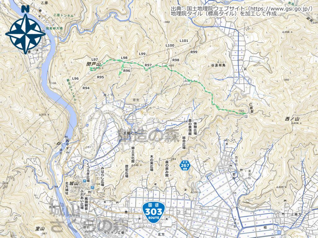 間戸山・城山周辺地図