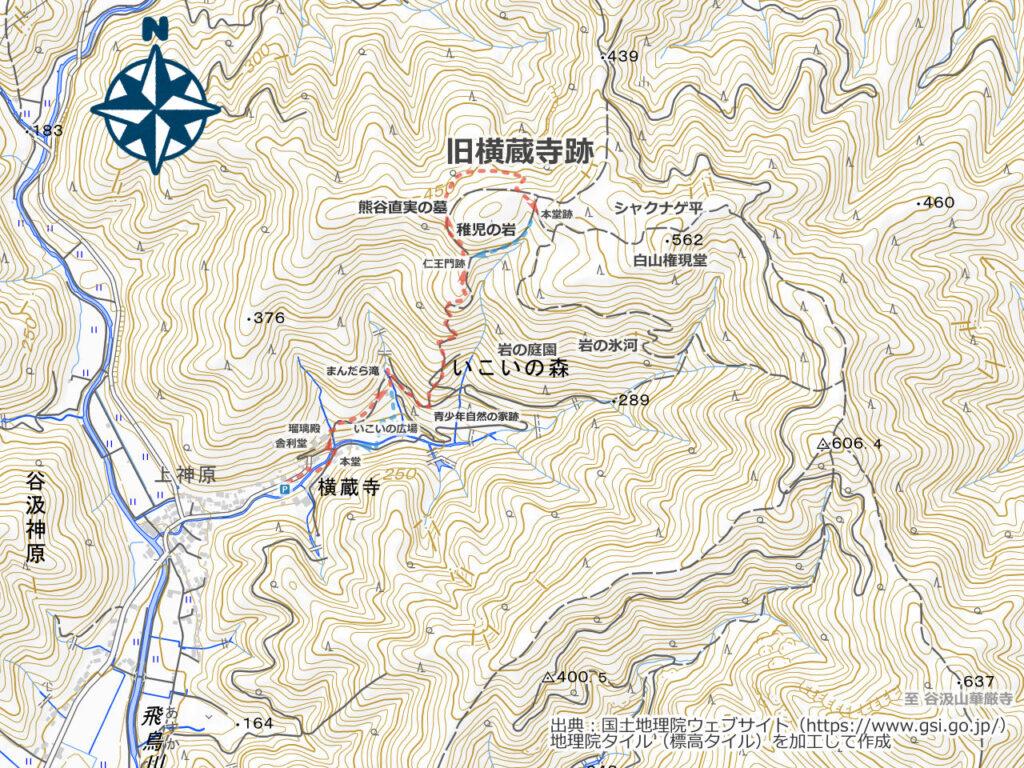 横蔵寺・いこいの森周辺地図