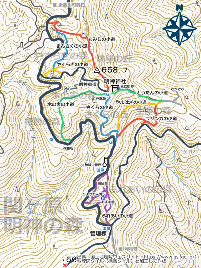 関ヶ原明神の森地図