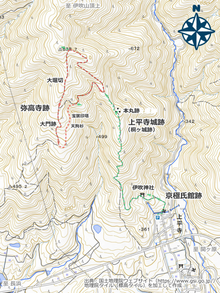 弥高寺跡・上平寺城跡周辺地図