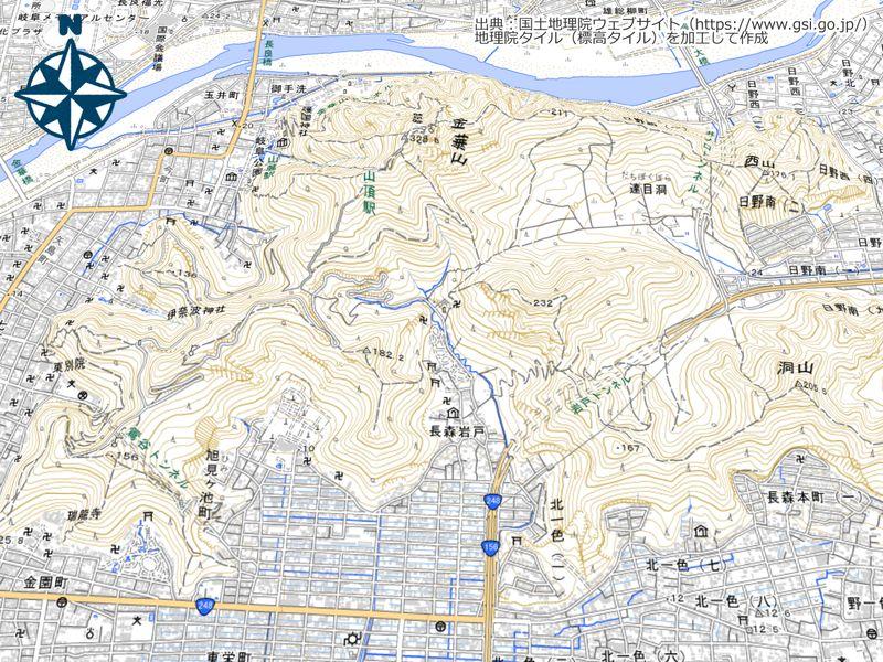 金華山の3D表示