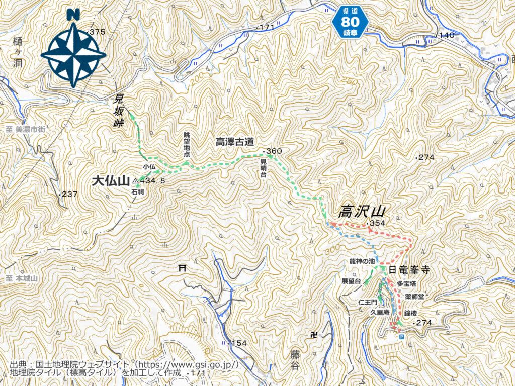 大仏山・高沢観音周辺地図