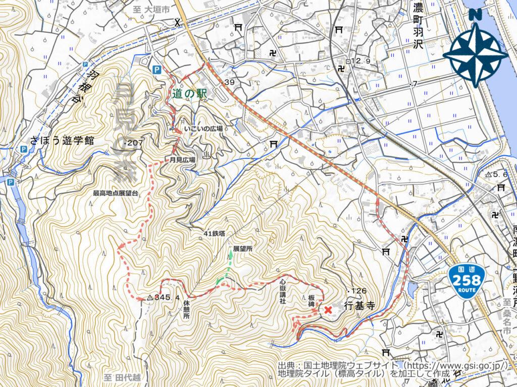 月見の森・行基寺周辺地図