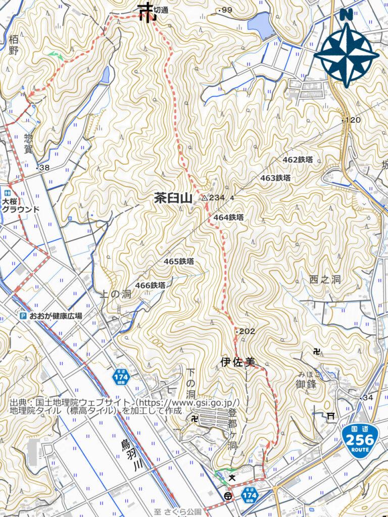 茶臼山周辺地図