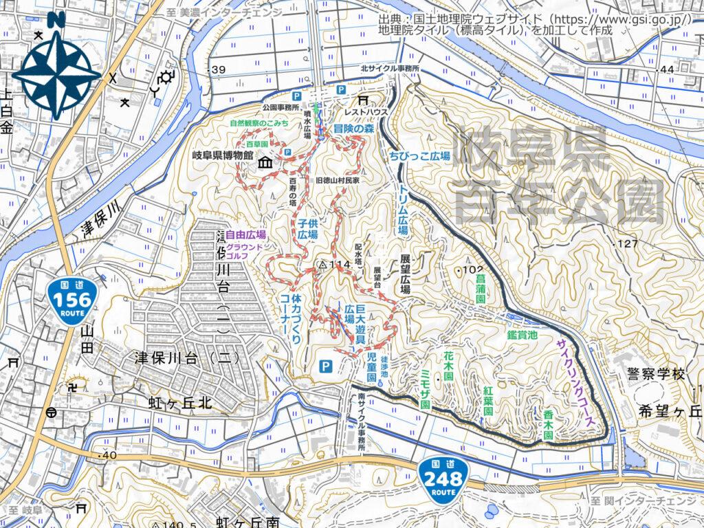 岐阜県百年公園周辺地図