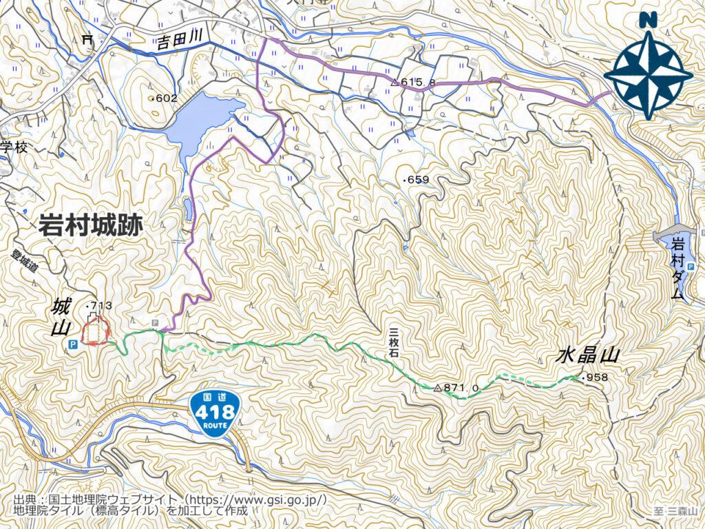 水晶山・三森山周辺地図