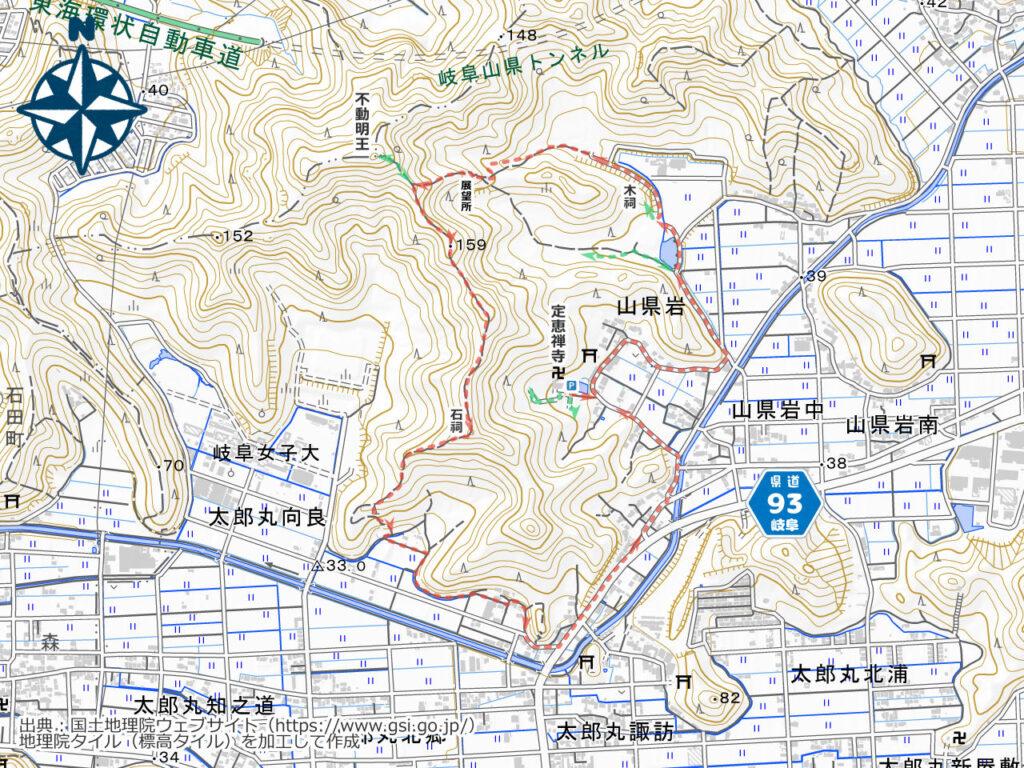 定恵禅寺・不動明王周辺地図