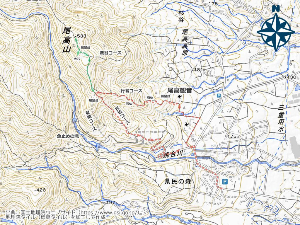 尾高山・三重県民の森周辺地図
